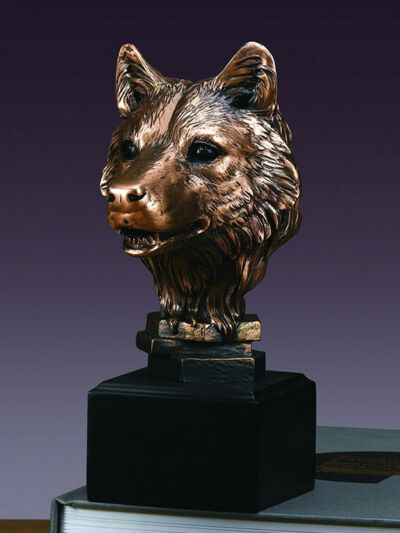 "Stunning Wolf Head 8""  Beautiful Bronze Statue / Sculpture Brand New"