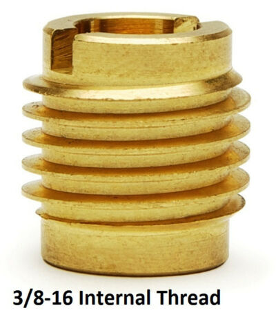 "E-Z Lok  3/8-16  X 5/8"" Threaded Brass Insert For Wood - 10 Pieces"