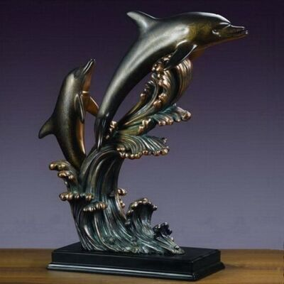 Very Large Two Dolphins 22 x 23.5 Stunning Beautiful Bronze Sculpture Brand New