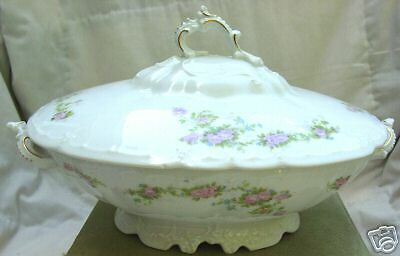 Covered Vegetable Bowl Habsburg Austria HAB104 Footed Pink Roses Blue Green