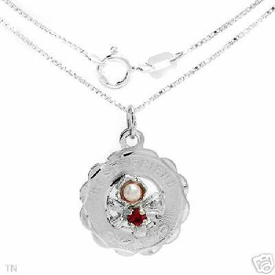 Necklace With Precious Stones-Ruby and Pearl-925 Silver