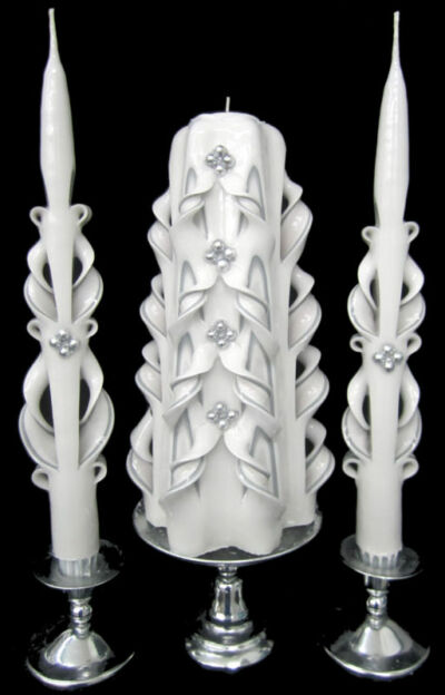 *SILVER* hand-carved Wedding Unity Candle SET - LOOK!