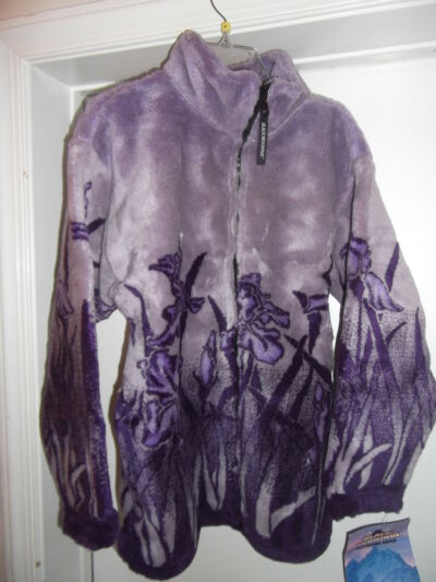 Women's Fleece Jacket Small Lavender & Purple Garden Themed