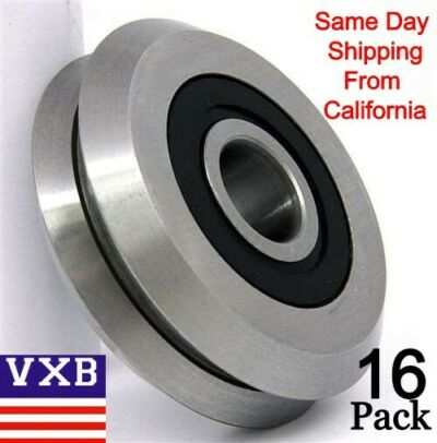 "Lot of 16 RM2-2RS 3/8"" inch New V Groove Guide Way Rubber Sealed Ball Bearings"