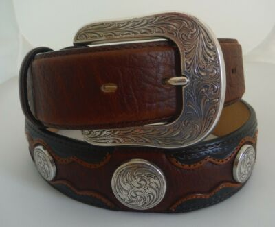 "Justin New Leather ""Saddle Bronco"" Multi-Color Belt     Sizes 32, 46 NWT"