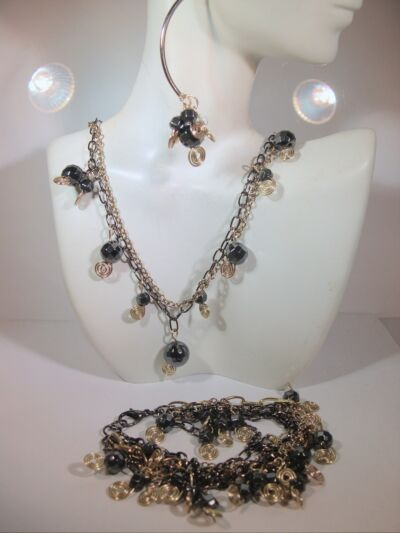"Two Tone Chain & Bead Necklace 18"" Lobster Clasp hand made"
