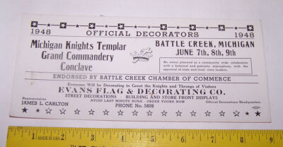 1948 INK BLOTTER Knights Templar Grand Commandery Conclave BATTLE CREEK MICHIGAN