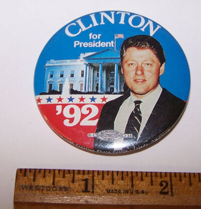 1992 CLINTON FOR PRESIDENT Photo Pinback Button