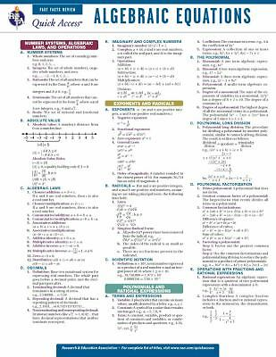Algebraic Equations - REA's Quick Access Reference Chart (Quick Access Reference
