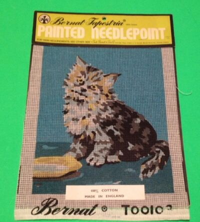 Bernat Tapestria Needlepoint Painted Canvas Kitty Cat Kitten Made In England