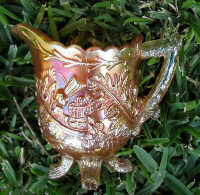 Scarce THISTLE AND THORN marigold carnival glass creamer*Sowerby (England) 1920s
