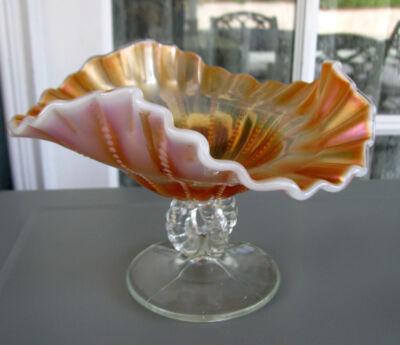 Dugan BEADED PANELS Peach Opalescent Open Stemmed Carnival Glass Compote ca 1915