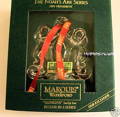 NEW WATERFORD MARQUIS Noahs Ark MONKEY MONKEYS Two by Two Ornament
