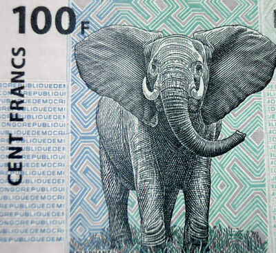 ELEPHANT ON MONEY 2007 CONGO 100 FRANCS BANKNOTE Authentic Uncirculated Mint