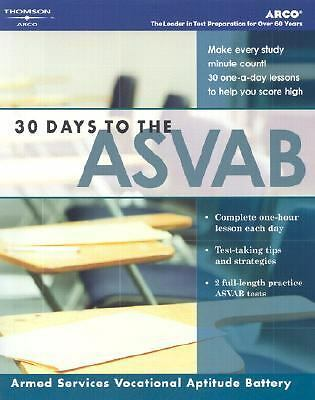 30 Days to ASVAB, 1st ed (Arco 30 Days to the ASVAB),Arco,  Good Book
