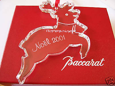 NEW in BOX BACCARAT Crystal 2001 Noel REINDEER Ornament Free USA Shipping