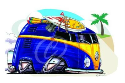 Camper Bus Van Car Cartoon T-shirt #4966 vw beach surf buggy auto