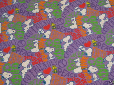 Peanuts Snoopy Recycle Conserve Flannel Fabric 1 Yard 29 Inches