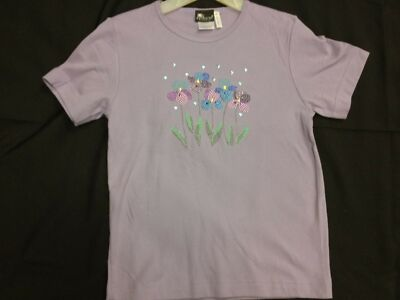 NWOT Purple T-Shirt w/ Embellished Flower Design sizes M, L, XL, 2XL, 3XL