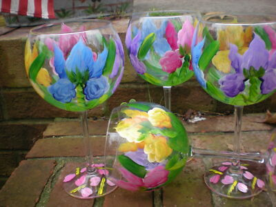 HAND PAINTED MULTI IRIS 19 OUNCE GOBLETS/ SET/4(MADE IN THE USA)