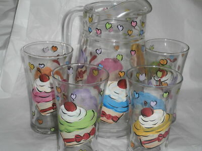 HAND PAINTED FROSTED CUPCAKE W/CHERRY PITCHER AND 4 ICE TEA GLASSES SET