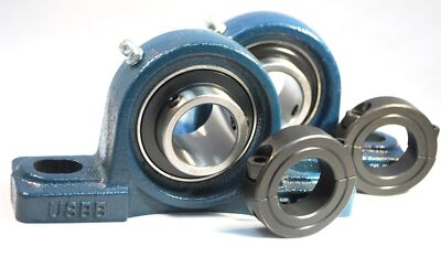 "(2)1/2"" Premium Pillow Block Bearing,UCP201-8 + 2 Double Split Shaft Collars"