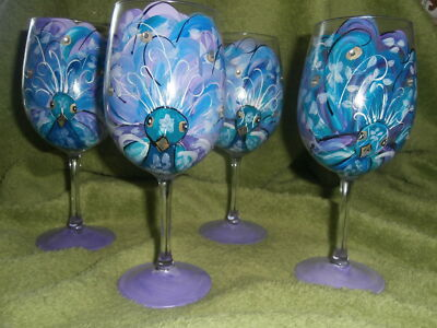 HAND PAINTED WATERCOLOR STYLE PEACOCK W/ JEWELS, TEALS,PURPLES  SET /4 goblet