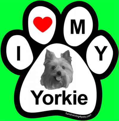 I LOVE  3 MY YORKIE - PAW MAGNET,Dog Cat Pet Rescue Charity