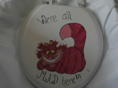 HAND PAINTED  CHESHIRE CAT HOT PINK BLACK USA SEALED WHITE STANDARD  TOILET SEAT