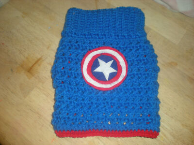 CROCHETED CAPTAIN AMERICA  DOG SWEATER IN X/SMALL, SMALL AND MEDIUM