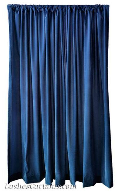 15' H Navy Blue Velvet Curtain Long Window Panel Theatre Stage Backdrop Drapery