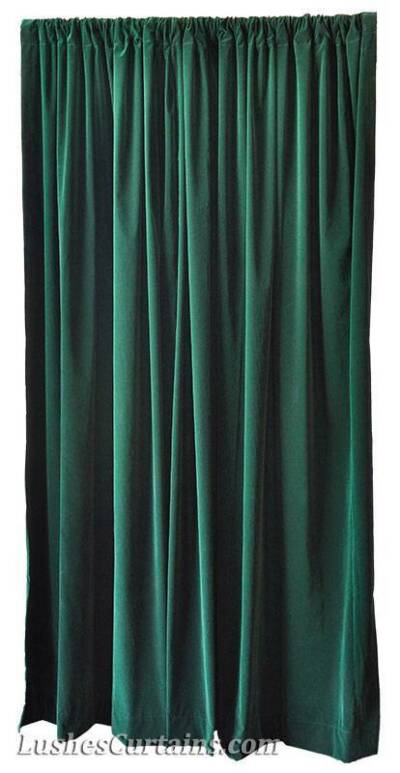 Green 216-inch H Velvet Curtain Long Panel Custom Made Large Expo Event Drapery