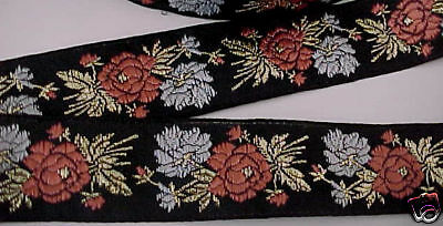 Vintage French Jacquard Trim Ribbon New Old Stock Black