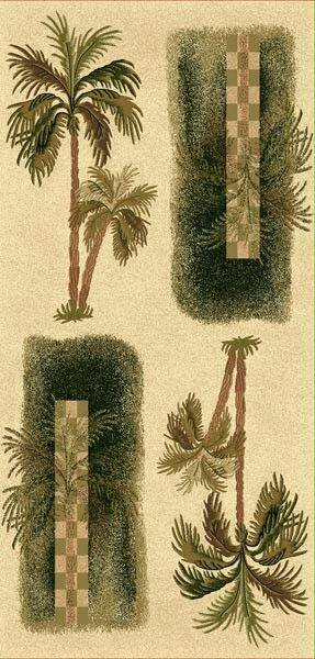 Tropical Oasis Theme Multi Palm Tree ~Beige~ Tan Area Rug 2x4, 8x11, 6x9, 2x8