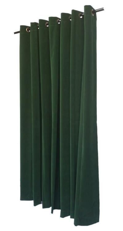Solid Green 11ft H Velvet Curtain Panel w/Ring Grommet Top Eyelets Window Drape