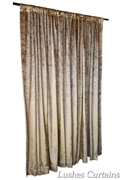 Gold 72 inch H Custom Velvet Curtain Panel Treatment w/Rod Pocket Top Drapery