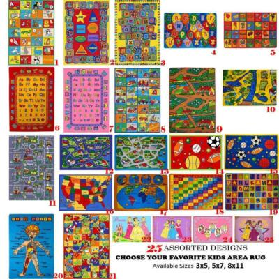 Kids Children's Classroom School Educational ~Area Rugs~ Non Skid Gel Rug ABC