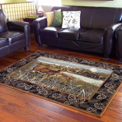~Wilderness~ Deer Cabin Lodge MAT RUG Pine Cones Area Rugs ALL SIZES