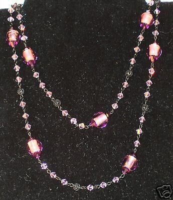 Hand Made Designer Necklace w/ Glass Beads & Crystals