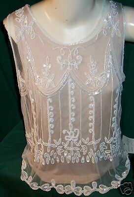 STERLING STYLES Net Beaded Top Sz OS