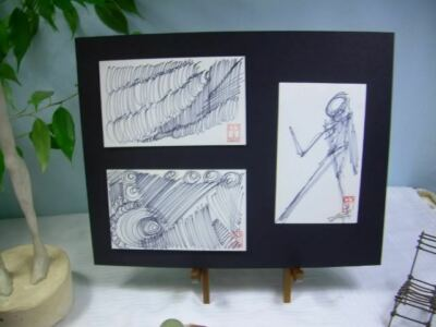 C Peterson 3 ORIGINAL landscape POP ART sketch ACEO drawings CROSS HATCH STUDIES