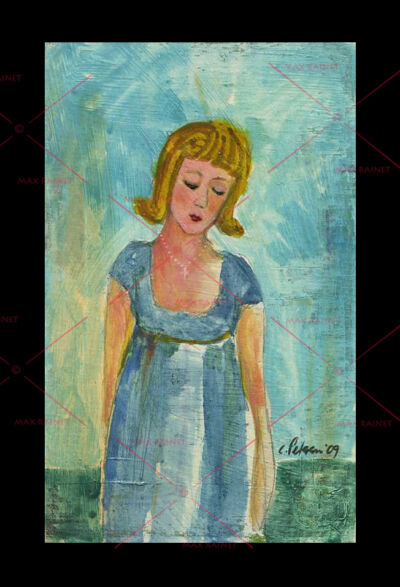 Original ART Painting C PETERSON ~ Lady in thought blue dress IMPRESSIONIST ART