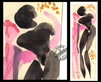 Embrace by Your Touch Figures Series #28 C PETERSON Original Watercolor PAINTING