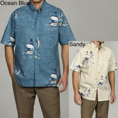 New Hook & Tackle Men's Fish Charts Shirt-Multicolor-Sandy-Small