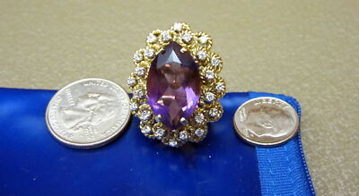 HUGE 18K Gold Amethyst Diamond Ring 1960's Sz 10