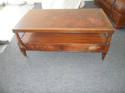 1940-1950 Antique Leather Top with Gold Leaf Embossed Coffee Table