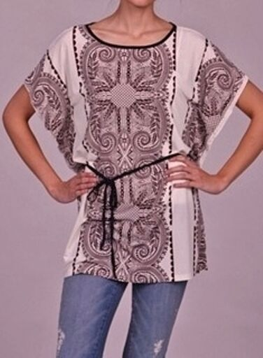 Second Skin Women's Brown Allover Print Belted Tunic Top Small