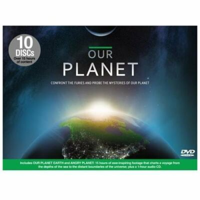 OUR PLANET 10 DVD SET  includes Planet Earth & Angry Planet +1 hr audio CD