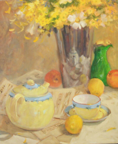 SPRING Floral Yellow Flowers Lemons & Tea American  Original Oil Margaret Aycock