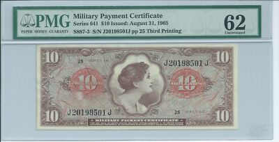 MPC Series 641 Military Payment Certificate $10 PMG 62 UNC 1965 Curency 501J 3rd